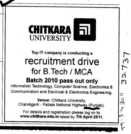 B Tech and MCA Course (Chitkara University)