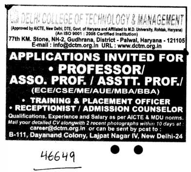 Professors Associate Professors and Assistant Professors (Delhi College of Technology and Management (DCTM))