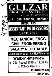 Assistant Professors and Lecturer (Gulzar Group of Instituties Khanna)