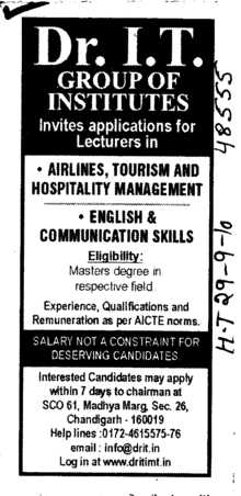 Lecturer in Air Lines and Tourism (Dr IT Group of Institutes)