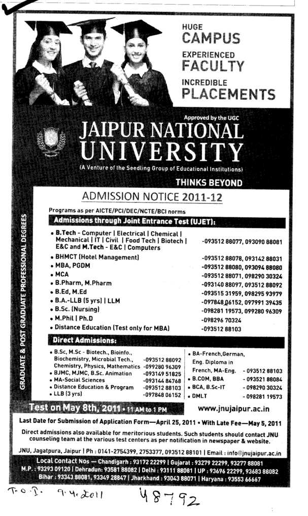 Graduate and Post Graduate Professional Degree (Jaipur National University)