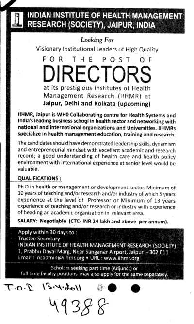 Looking a Directors (Indian Institute of Health Management Research (Society))