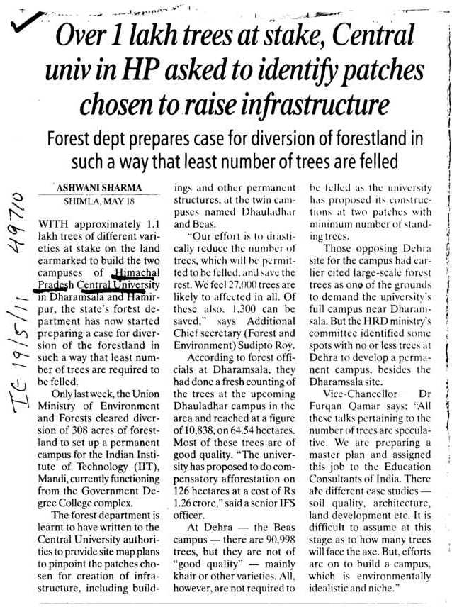 Over 1 Lakh trees at Stakes (Central University of Himachal Pradesh)
