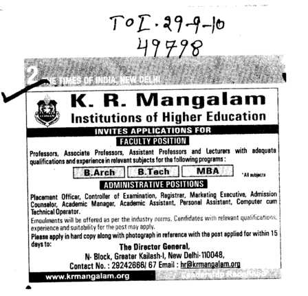 B Arch B Tech and MBA etc (KR Mangalam Institute of Management)