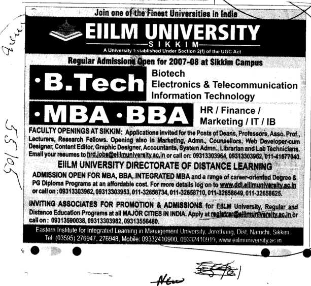 B Tech MBA and BBA etc (EIILM University)