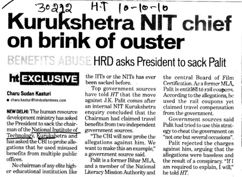 Kurukshetra NIT chief on brink of ouster (National Institute of Technology (NIT))