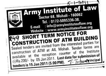 Short Term Term Notice for Construction and ATM Building (Army Institute of Law)