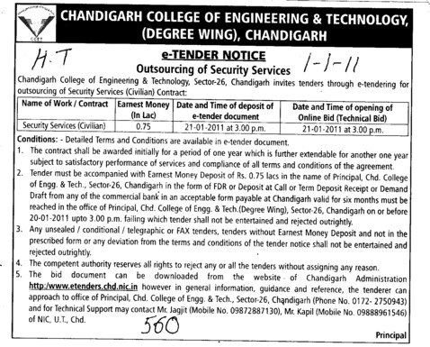 Tender Notice for outsourcing of Security Services (Chandigarh College of Engineering and Technology (CCET))