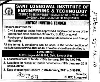 Tender Notice invited for Civil and Electrical works (Sant Longowal Institute of Engineering and Technology SLIET)
