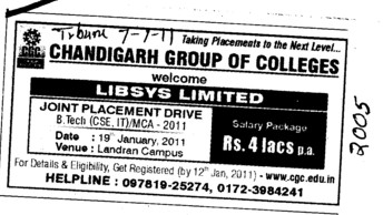 Joint Placement Drive for BTech and MCA (Chandigarh Group of Colleges)