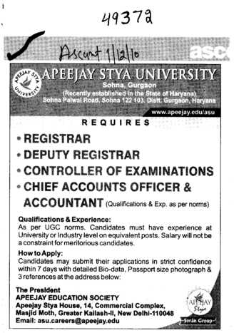 Registrar Deputy Registrar and Accountant etc (Apeejay Stya University)