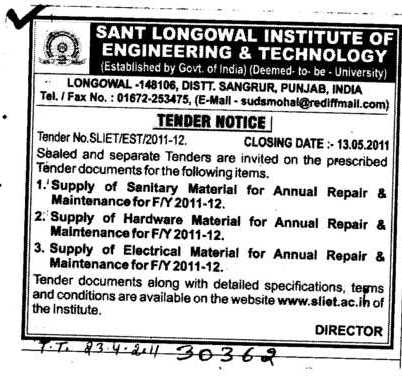 Tender Notice are invited on the Supply of Sanitary Material and Supply of Hardware Material (Sant Longowal Institute of Engineering and Technology SLIET)