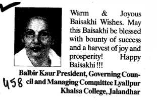 Message of Balbir Kaur President (Lyallpur Khalsa College of Boys)