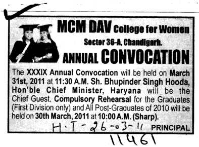 Annual Convocation (MCM DAV College for Women)