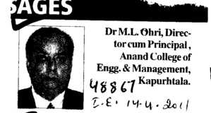 Message of Dr M L Ohri Director cum Principal (Anand College of Engineering and Management)
