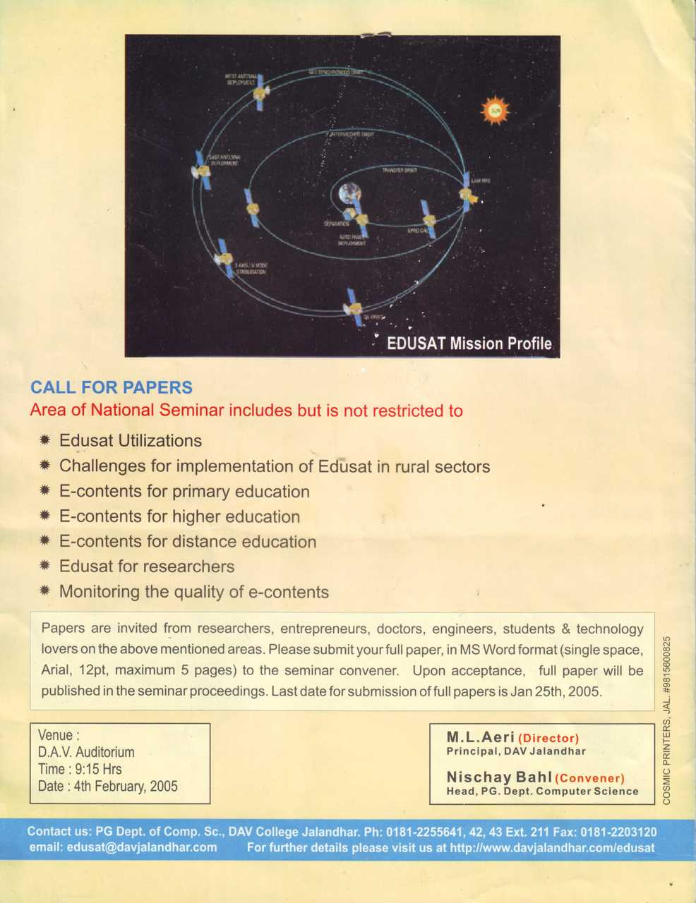 Call for Papers (DAV College)