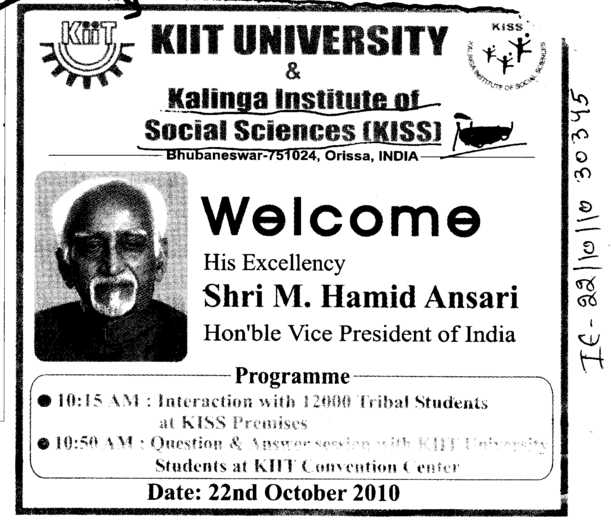 Welcome his Excellency Shri M Hamid Ansari (KIIT University)