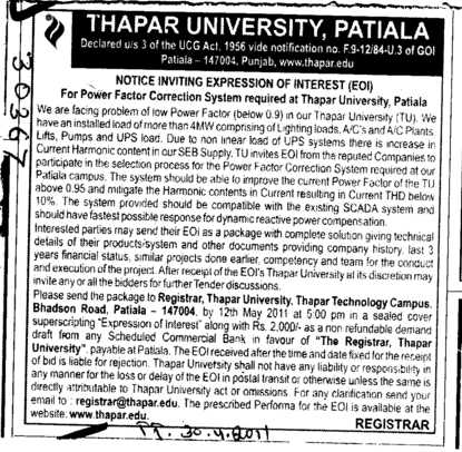 Expression of Interest for Power Factor Correction system required at Thapar University (Thapar University)