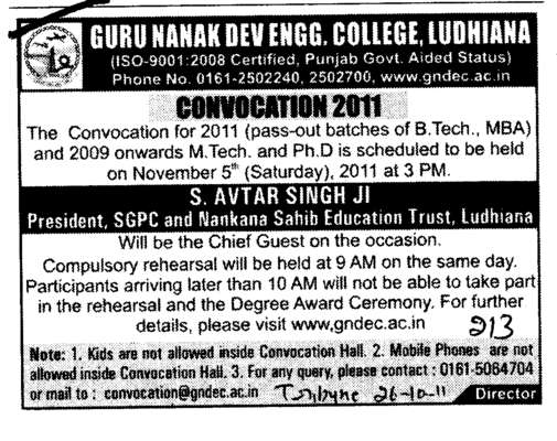 Annual Convocation Programme (Guru Nanak Dev Engineering College (GNDEC))
