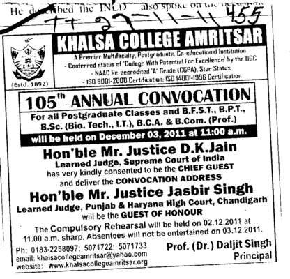 105th Annual Convocation (Khalsa College)