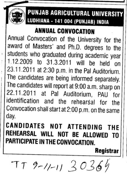 Annual Convocation (Punjab Agricultural University PAU)