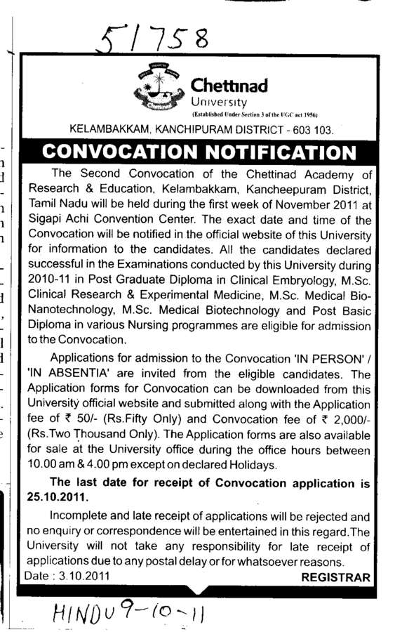 Convocation Notification (Chettinad University)