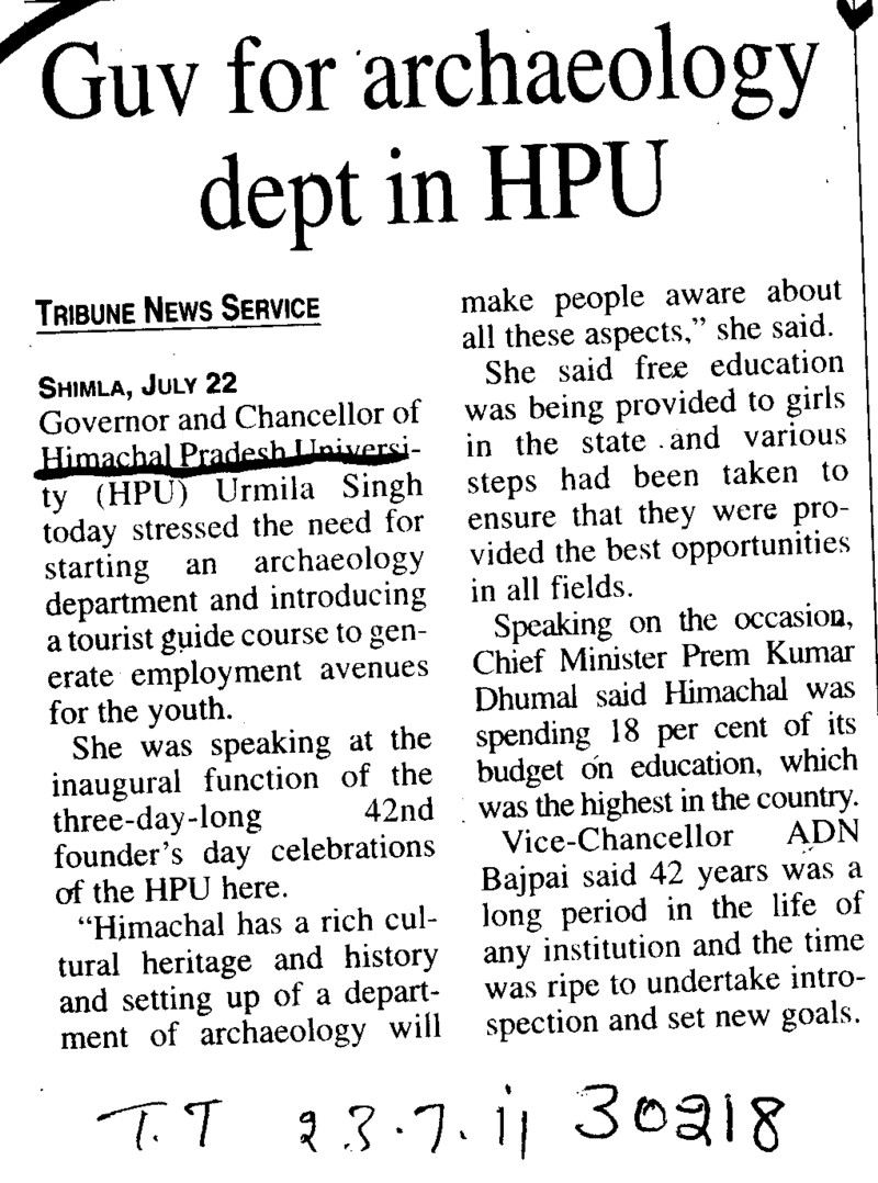 Guv for archaeology dept in HPU (Himachal Pradesh University)