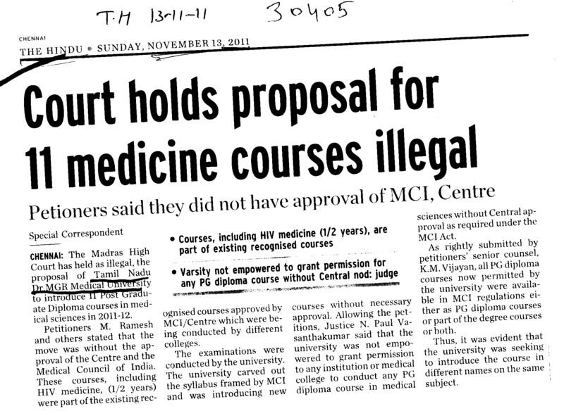 Court holds proposal for 11 medicine courses illegal (Tamil Nadu Dr MGR Medical University)