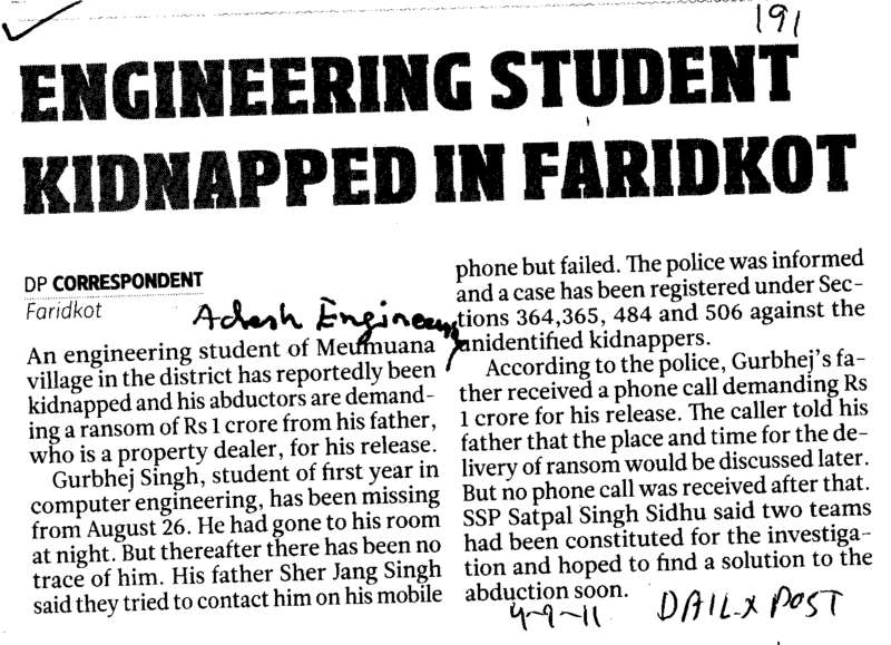 Engineering Student Kidnapped in Faridkot (Adesh Institute of Engineering and Technology (AIET))