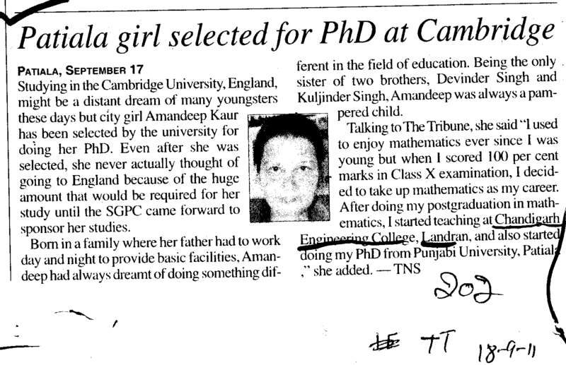 Patiala girl selected for PhD at Cambridge (Chandigarh Engineering College (CEC))