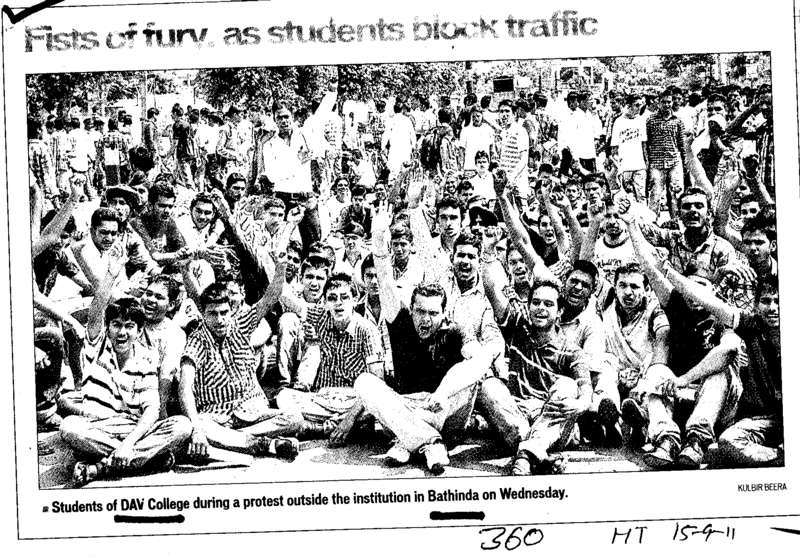 Students of DAV College during a protest outside the institution in Bathinda (MG DAV College)