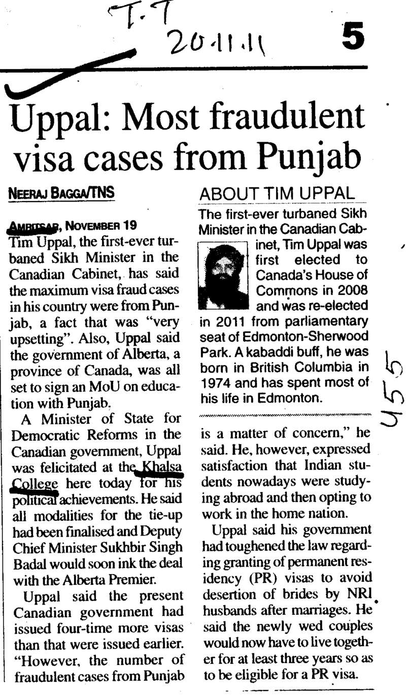 Most fraudulent visa cases from Punjab (Khalsa College)