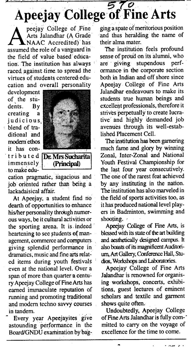 Message of Dr Mrs Sucharita Principal (Apeejay College of Fine Arts)