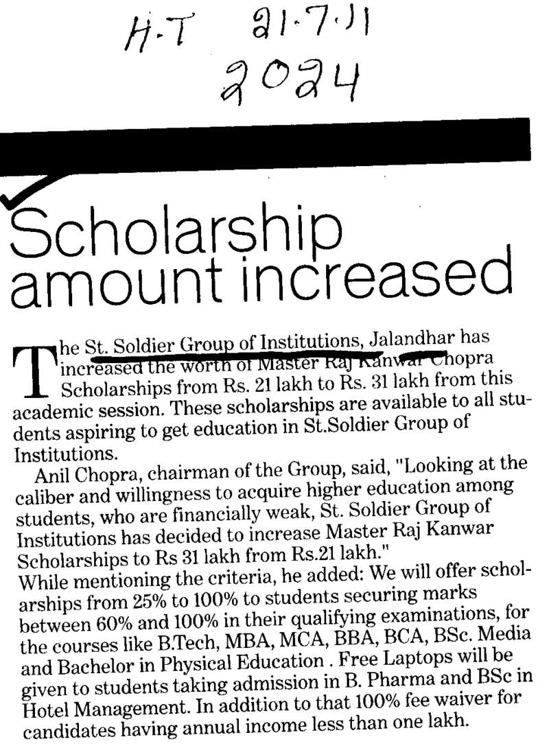 Scholarship amount increased (St Soldier Group)
