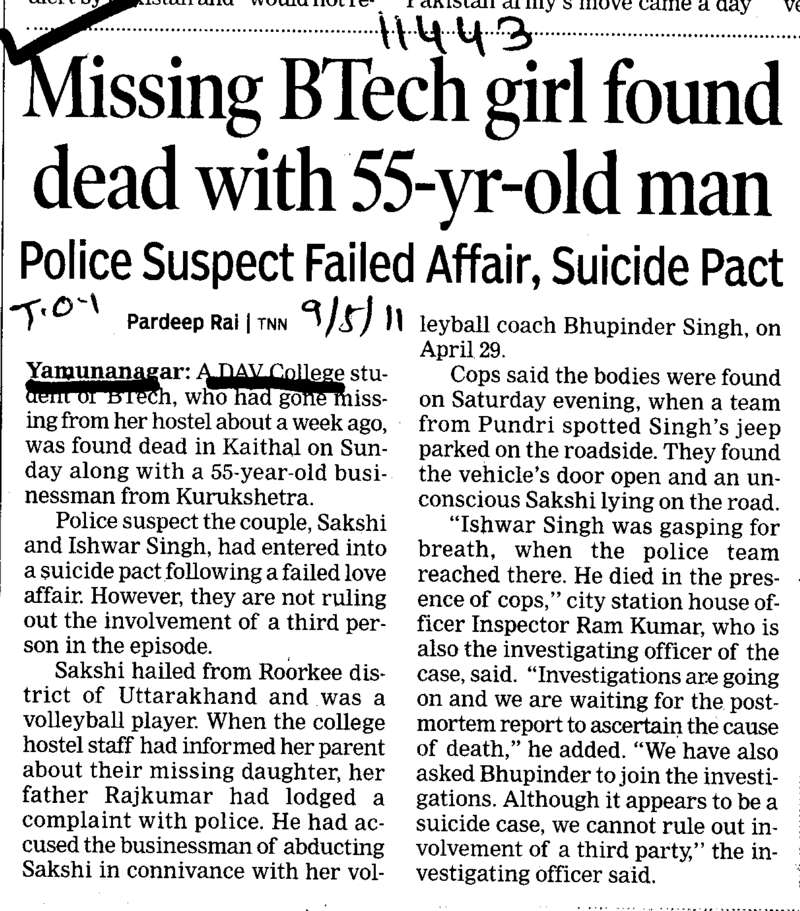 MIssing BTech girl found dead with 55 year old man (DAV College for Girls)