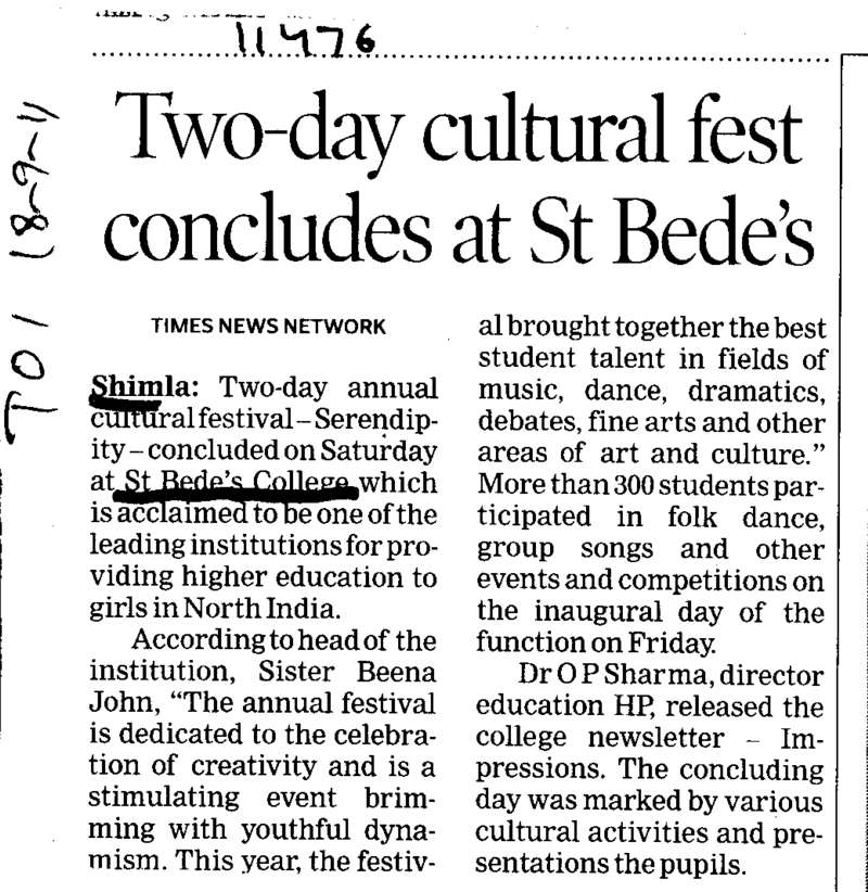 Two day cultural fest concludes at St Bedes (St Bedes College)
