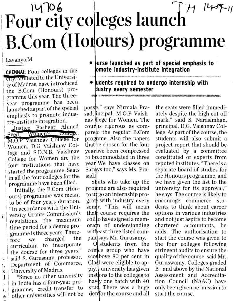Four city Colleges launch BCom Pragramme (Justice Basheer Ahmed Sayeed Womens College)