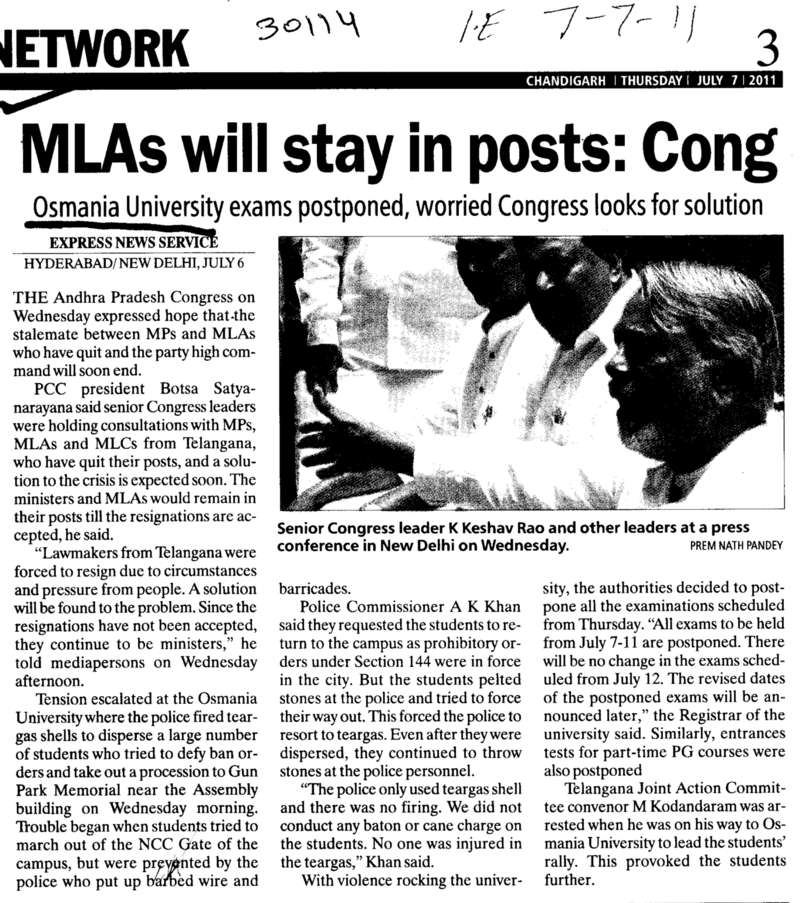 MLAs will stay in posts (Osmania University)