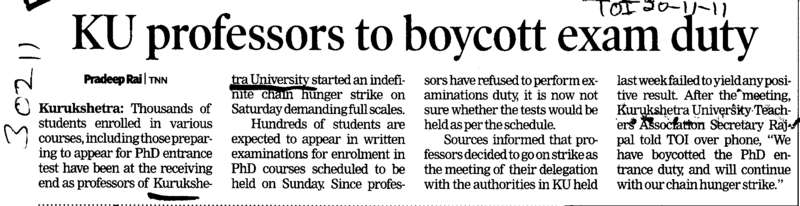 KU Proffessors to boycott exam duty (Kurukshetra University)