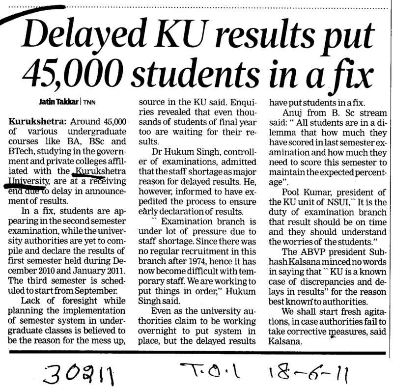 Delayed KU results put 45000 students in a fix (Kurukshetra University)