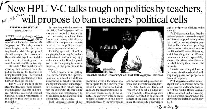 New HPU VC talks tough on politics by teachers will propose to ban teachers political cells (Himachal Pradesh University)