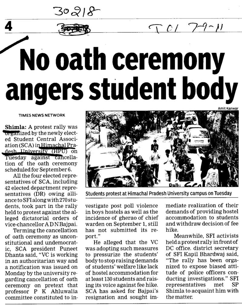No oath ceremony angers student body (Himachal Pradesh University)