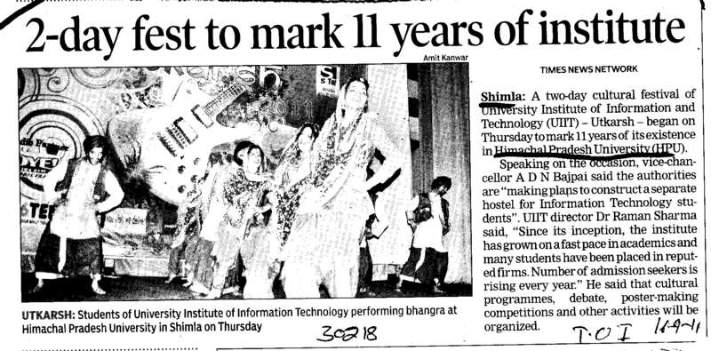 2 day fest to mark 11 years of institute (Himachal Pradesh University)