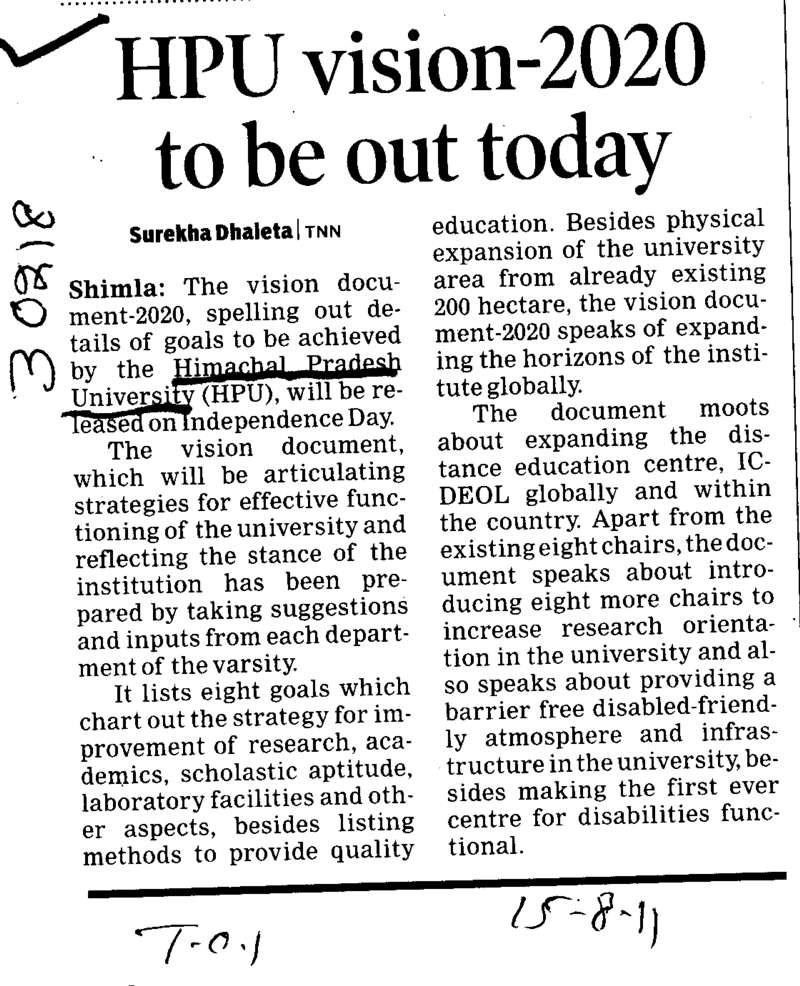 HPU vision 2020 to be put today (Himachal Pradesh University)