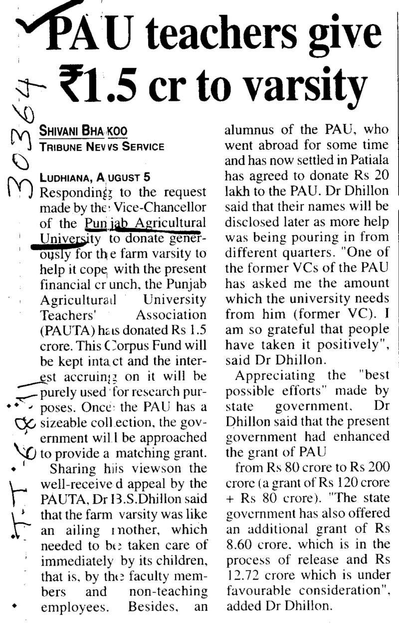 PAU teachers give Rs one and half Crore to Varsity (Punjab Agricultural University PAU)