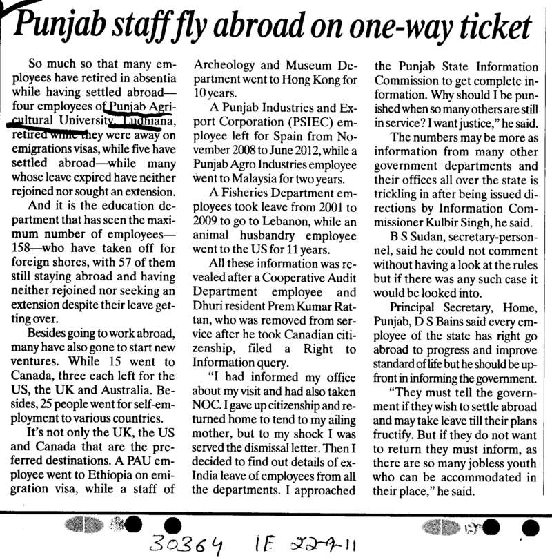 Punjab staff abroad on one way ticket (Punjab Agricultural University PAU)