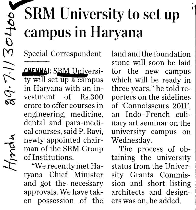 SRM University to set up campus in Haryana (SRM University)