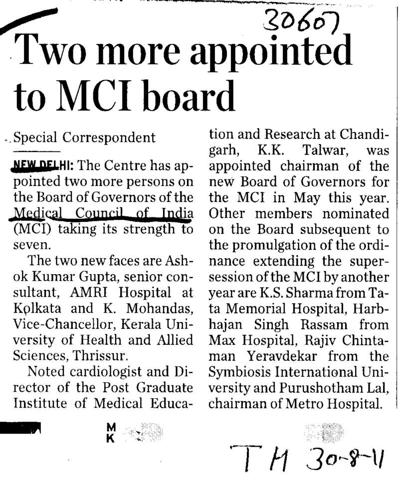 Two more apppointed to MCI board (Medical Council of India (MCI))
