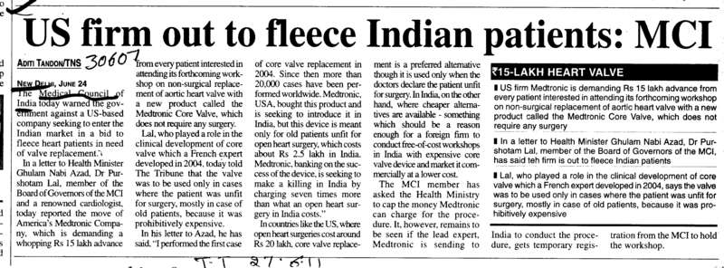 US firm out to fleece Indian patients (Medical Council of India (MCI))