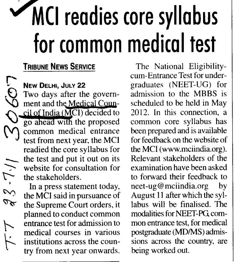 MCI readies core syllabus for common medical test (Medical Council of India (MCI))